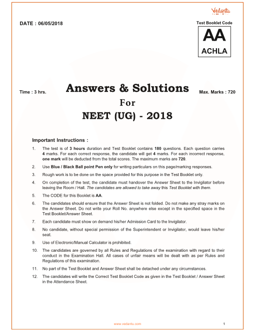 NEET 2018 QP with Solutions Code-aa part-1
