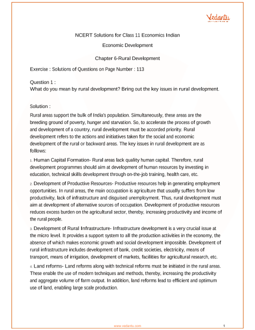 Class 11-Chapter 6-Rural development part-1