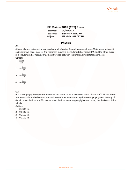 JEE Main 2018 Physics QP with Sol & Ans 15th April part-1