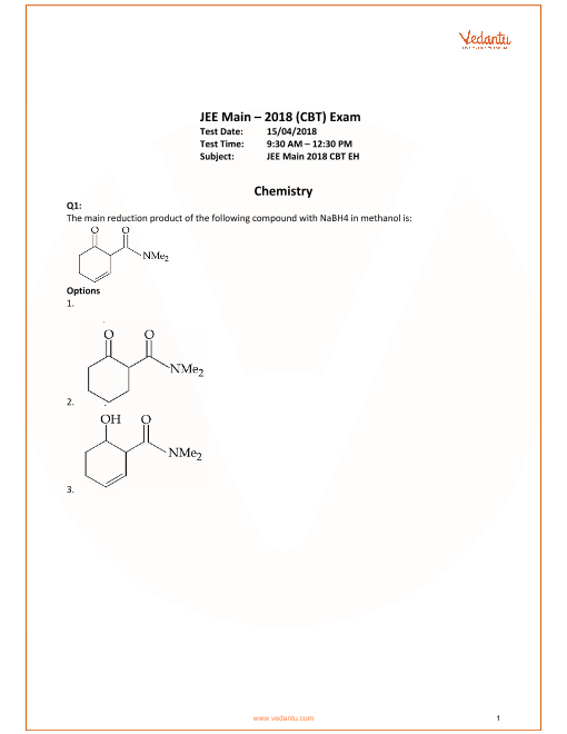 JEE Main 2018 Chemistry QP with Sol & Ans 15th April part-1