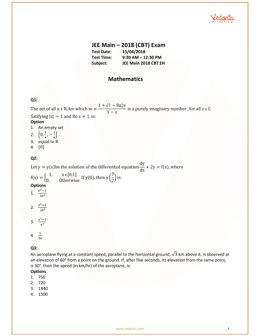 JEE Main 2018 Maths QP with Sol & Ans 15th April part-1