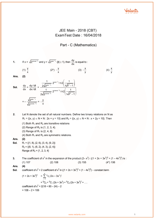 jee-main-2018-online-Combined-solutions-mathematics-16-04-2018 part-1