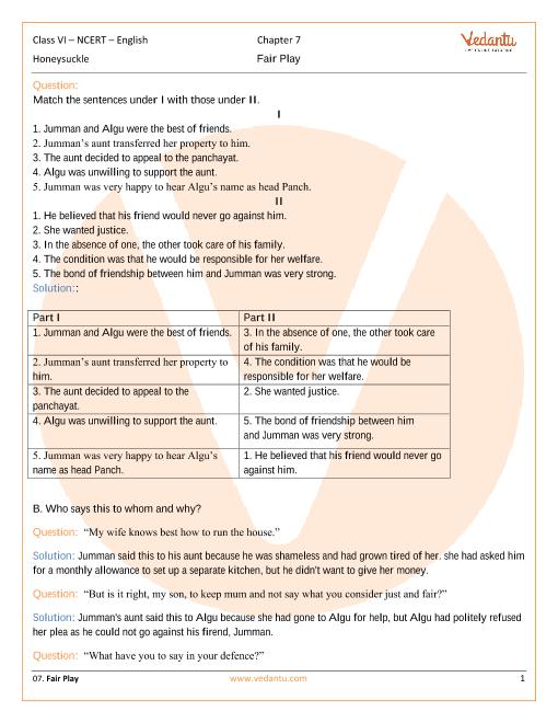 NCERT Solutions Class 6 English Honeysuckle Chapter-7 part-1