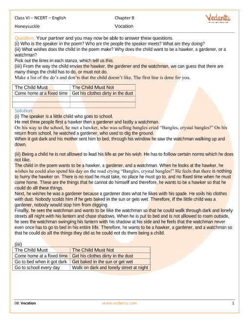 NCERT Solutions Class 6 English Honeysuckle Chapter-8-Poem part-1