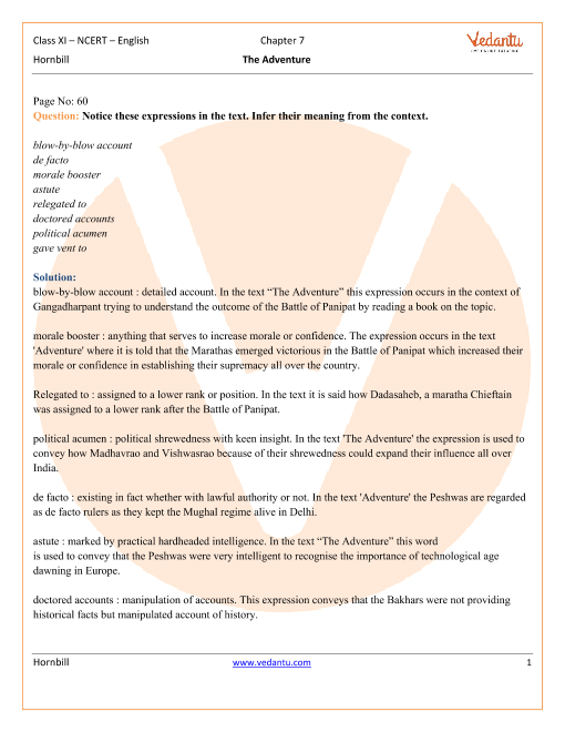 NCERT Solutions Class 11 English Hornbill Chapter-7 part-1