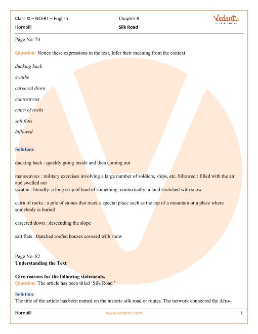 NCERT Solutions Class 11 English Hornbill Chapter-8 part-1