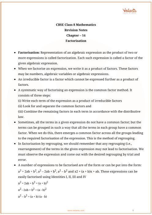 Class_8_math_revision_ch14_factorisation part-1