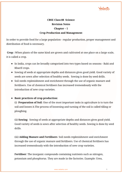 Class_8_science_key_notes_ch_01_crop_production_and_management part-1