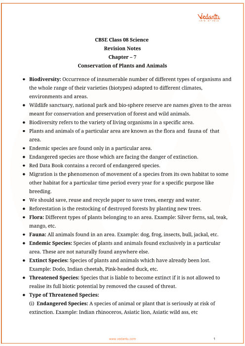 Class_8_science_key_notes_ch_07_conservation_of_plants_and_animals part-1