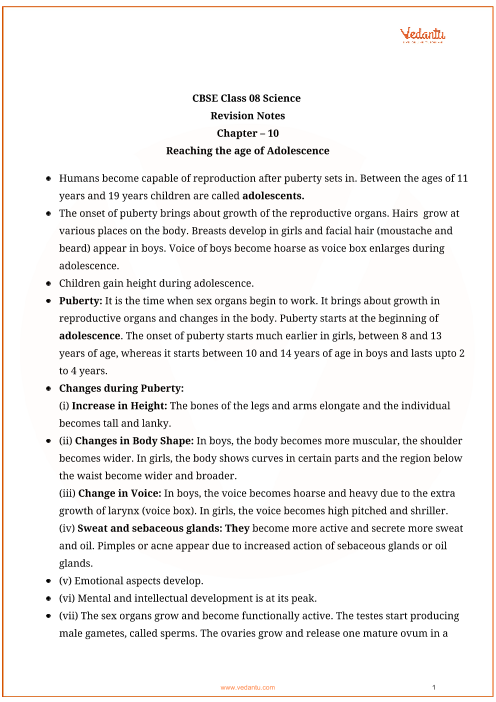 Class_8_science_key_notes_ch_10_reaching_the_age_of_adolescene part-1