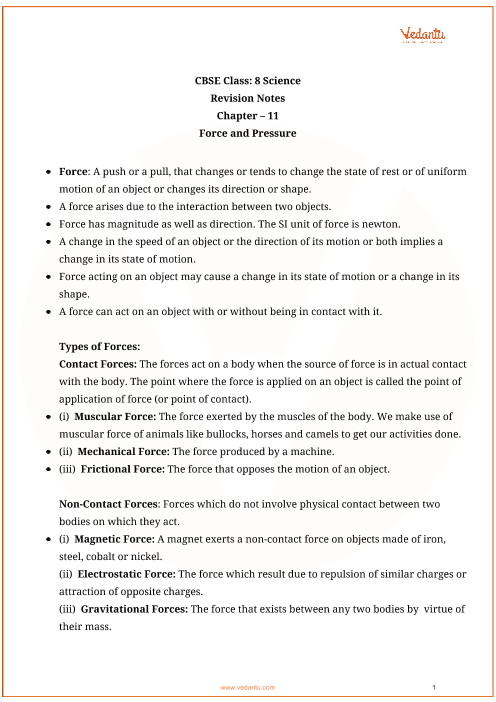 Class_8_science_key_notes_ch_11_force_and_pressure part-1