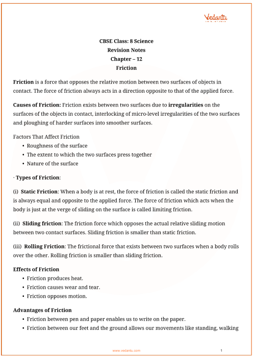 Class_8_science_key_notes_ch_12_friction part-1