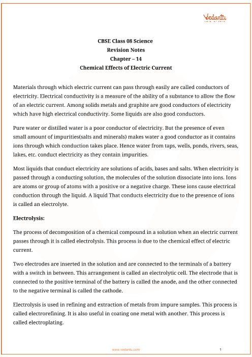Class_8_science_key_notes_ch_14_chemical_effects_of_electric_current part-1