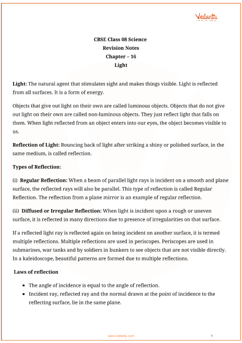 Class_8_science_key_notes_ch_16_light part-1