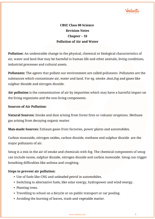Class_8_science_key_notes_ch_18_pollution_of_air_and_water part-1