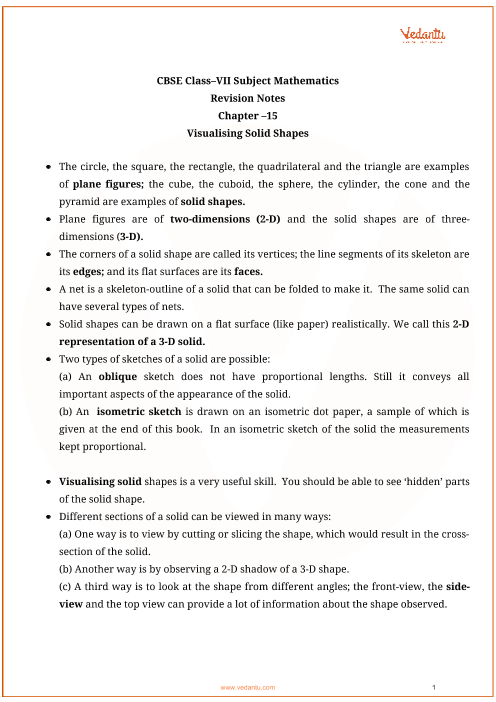 Class_7_maths_key_notes_ch15_visualising_solid_shapes part-1
