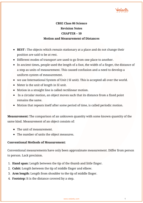 cbse class 6 science chapter 10 motion and measurement of distances revision notes. Black Bedroom Furniture Sets. Home Design Ideas