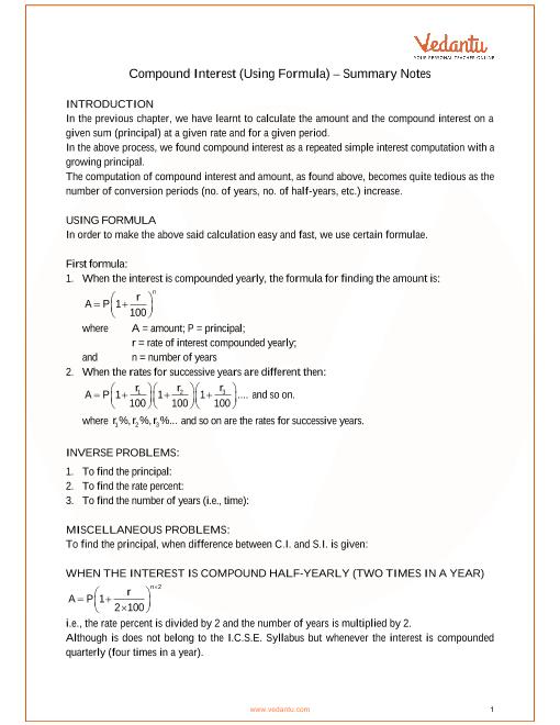 ICSE Class_09_maths_ch3_Compound Interest (Using Formula) Notes part-1
