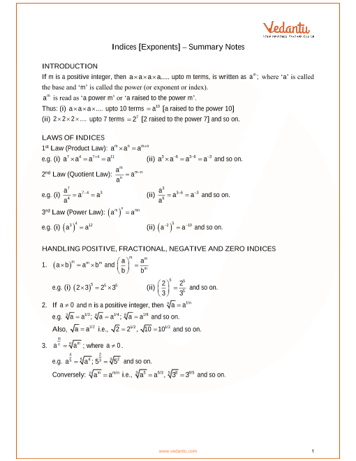 ICSE Class_09_maths_ch7_Indices [Exponents] Notes part-1