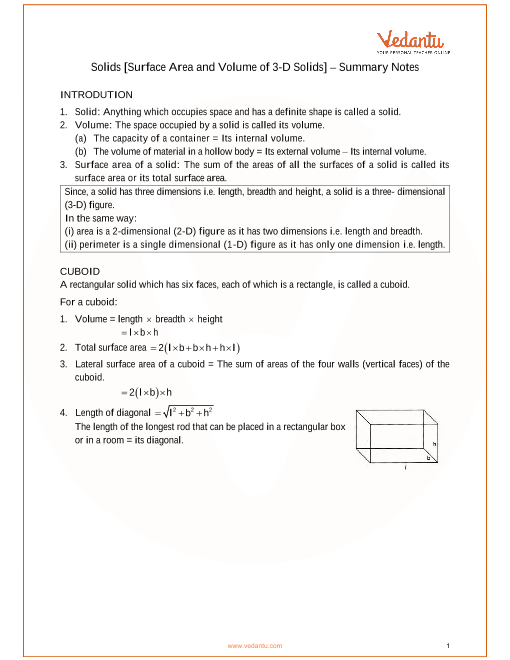 ICSE Class_09_maths_ch21_Solids [Surface Area and Volume of 3-D Solids] Notes part-1