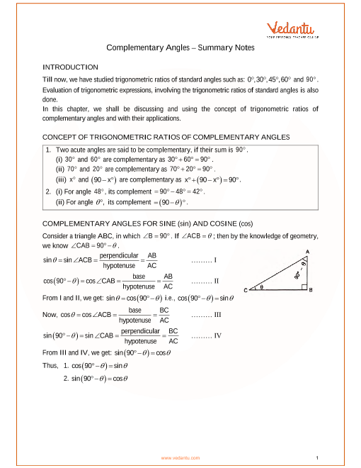 ICSE Class_09_maths_ch25_Complementary Angles Notes part-1