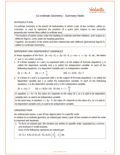 ICSE Class_09_maths_ch26_Co-ordinate Geometry Notes part-1