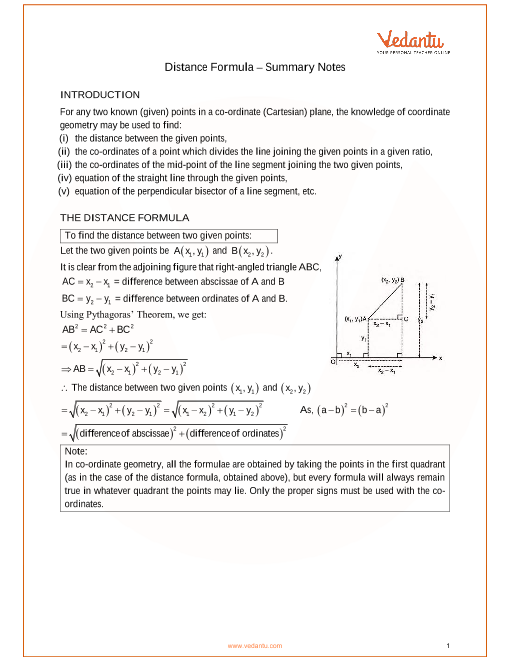 ICSE Class_09_maths_ch28_Distance Formula Notes part-1