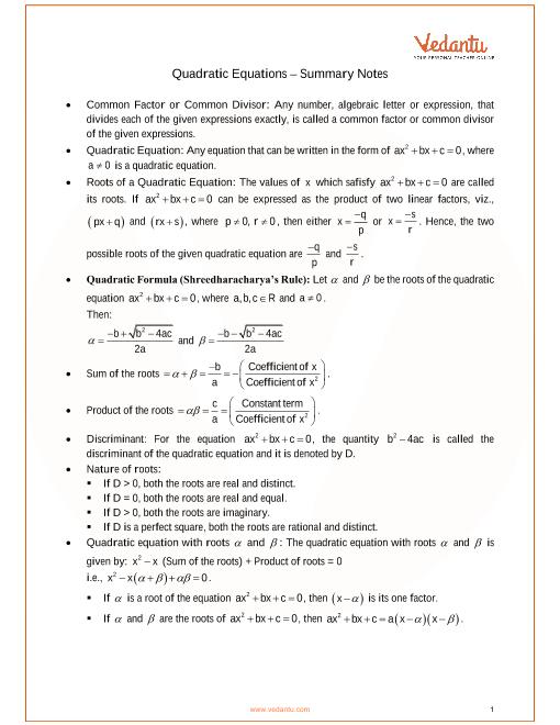 ICSE Class_10_maths_ch5_Quadratic Equations Notes part-1
