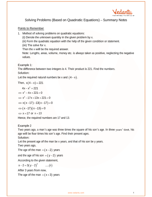 ICSE Class_10_maths_ch6_Solving Problems (Based on Quadratic Equations) Notes part-1