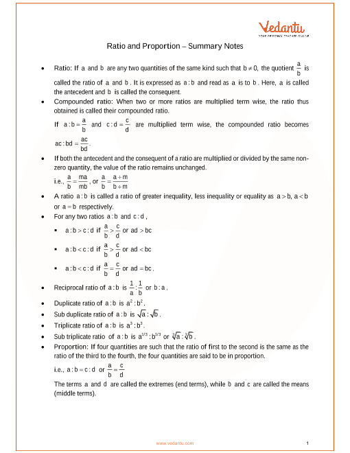 ICSE Class_10_maths_ch7_Ratio and Proportion Notes part-1