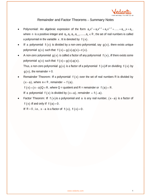 ICSE Class_10_maths_ch8_Remainder and Factor Theorems Notes part-1