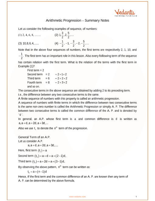 ICSE Class_10_maths_ch10_Arithmetic Progression Notes part-1