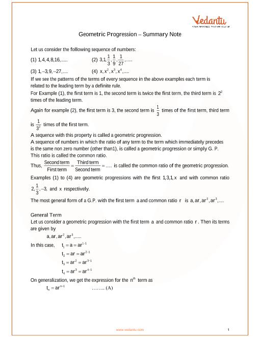ICSE Class_10_maths_ch11_Geometric Progression Notes part-1
