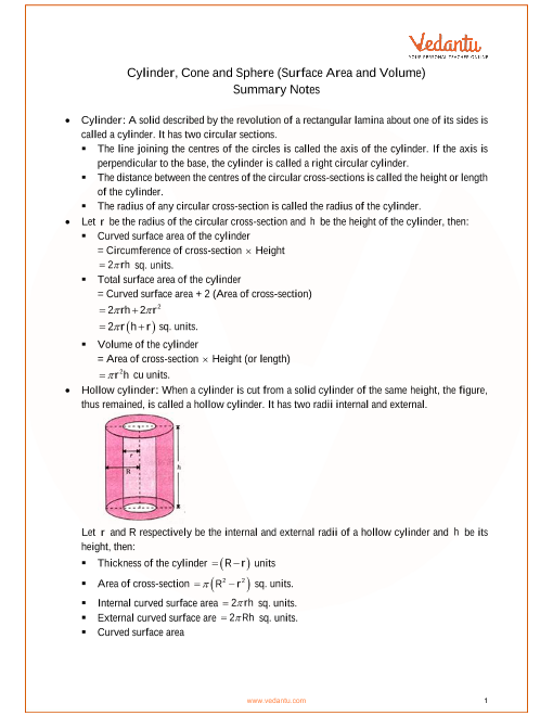 ICSE Class_10_maths_ch20_Cylinder, Cone and Sphere Notes part-1