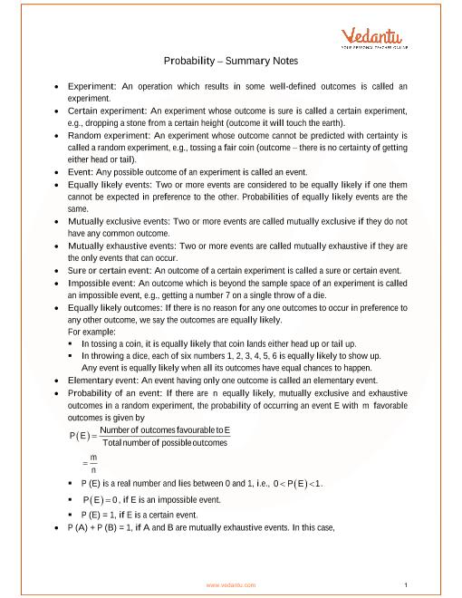 ICSE Class_10_maths_ch25_Probability Notes part-1