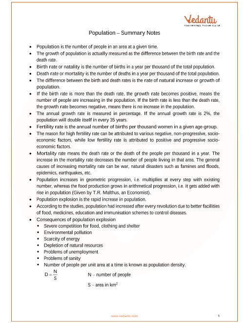 ICSE Class_10_biology_ch12_Population Notes part-1