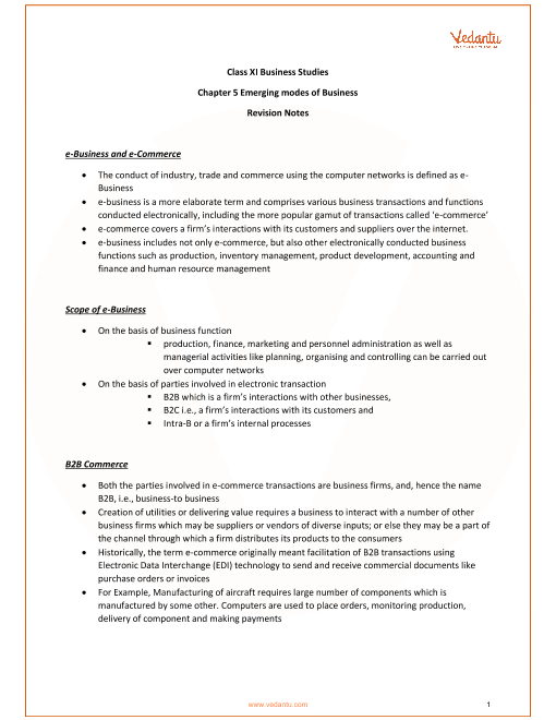 Business Studies Class 11 Chapter 5 Revision Notes part-1