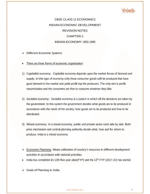 Revision Notes for Class 11 Economics Chapter 2 part-1