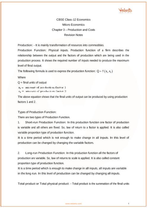 Class 12 - Chapter 3 - Micro Economics part-1