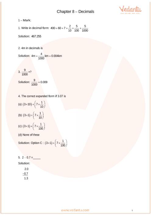 Important Questions Class 6 Maths Chapter 8_Decimals part-1