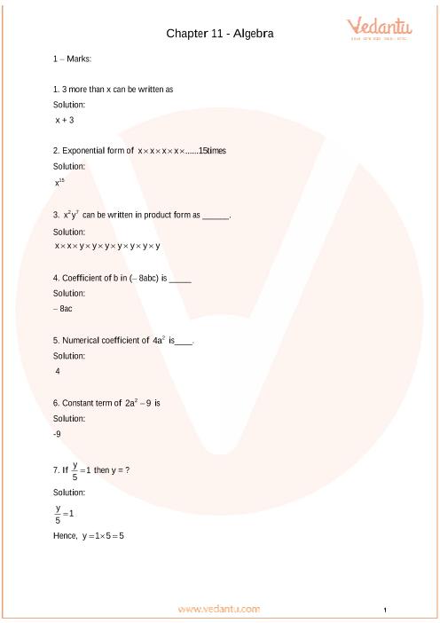 Important Questions Class 6 Maths Chapter 11_Algebra part-1