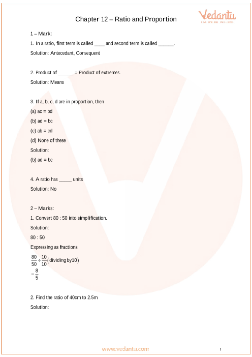 Important Questions Class 6 Maths Chapter 12_Ratio and Proportion part-1