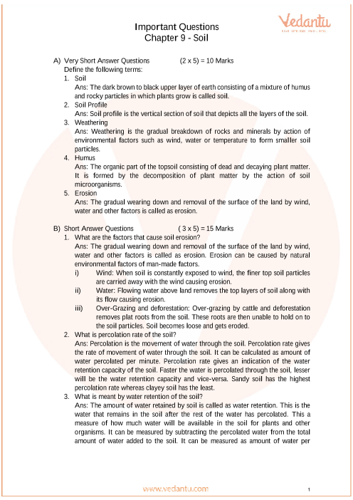 Important Questions for Class 7 Science Chapter 9- Soil part-1