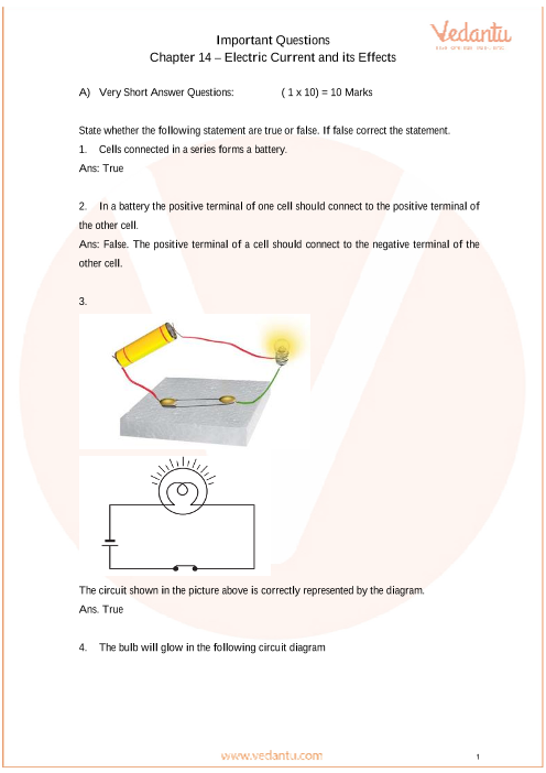 Important Questions for Class 7 Science Chapter 14 - Electric Current and its effects part-1