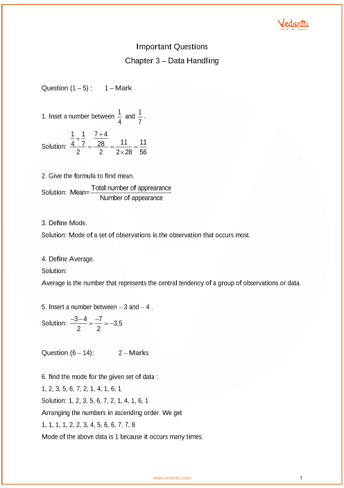 Important Questions for Class 7 Maths Chapter 3 - Data Handling part-1