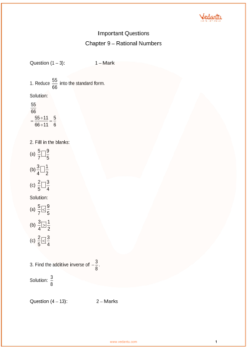 Important Questions for Class 7 Maths Chapter 9 - Rational Numbers part-1