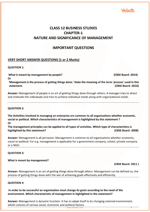 Important Questions for Class 12 Business Studies Chapter 1_ Nature and significance of management part-1