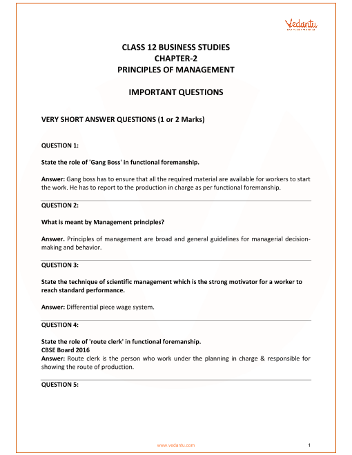 Important Questions for Class 12 Business Studies Chapter 2_Principles of management part-1