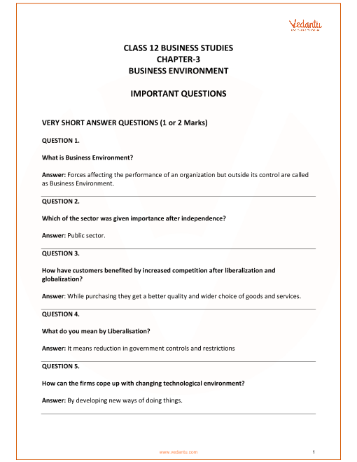 Important Questions for Class 12 Business Studies Chapter 3_Business Environment part-1