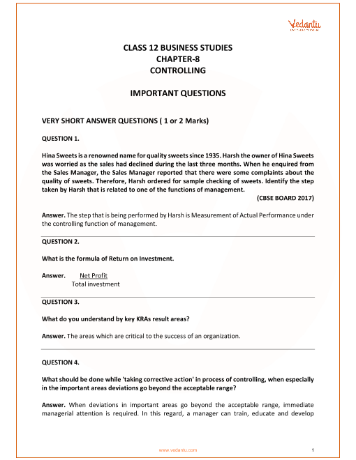 Important Questions for Class 12 Business Studies Chapter 8_Controlling part-1